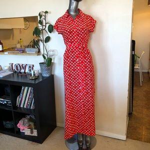 CLUB MONACO   Red & white silk maxi summer dress